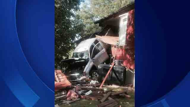 Stratford fire officials responded to a home after a truck crashed into it. (Stratford Firefighters)