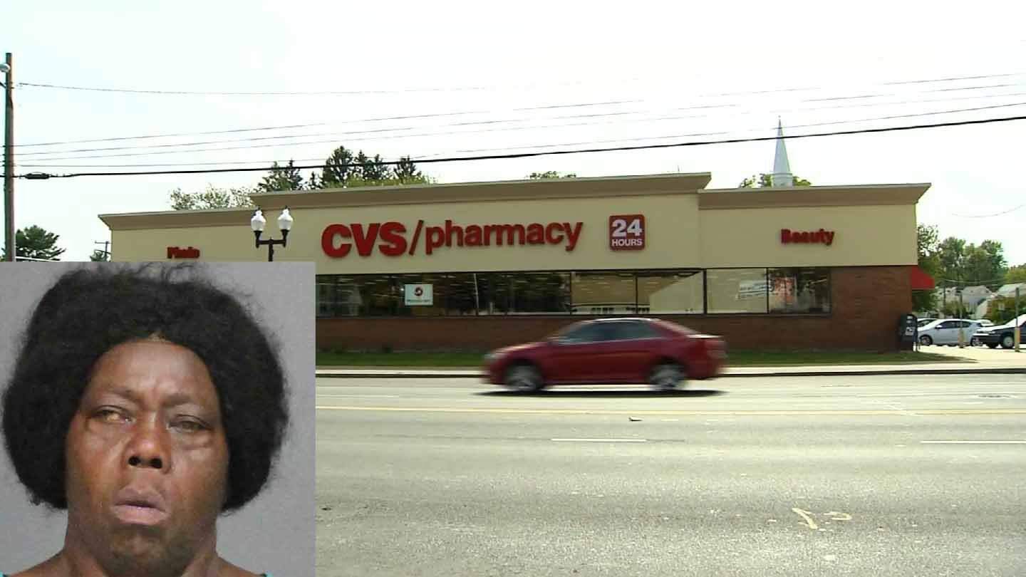 Gloria Drummer is accused of randomly attacking a woman outside of a West Hartford CVS. (West Hartford police/WFSB photo)