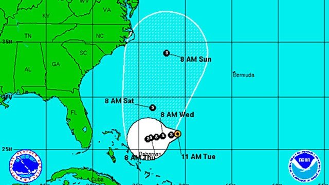 National Hurricane Center posted this graphic of the track of Tropical Storm Joaquin