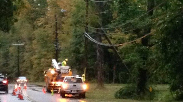 Eversource crews work to restore power in East Haddam. (WFSB photo)