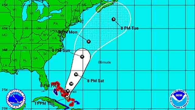 The NHC's Joaquin track as of 11 p.m. on Thursday.
