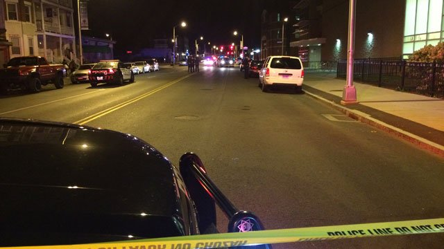 Two people hit by a motor vehicle on Albany Avenue near Bedford Street in Hartford. (WFSB)