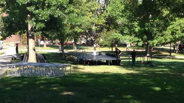 Organizers began setting up for the Eversource Hartford Marathon & Half Marathon on Monday. (WFSB photo)