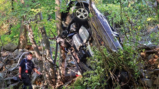 One vehicle went down an embankment on Route 7 on Tuesday afternoon. (Norwalk Police Department)