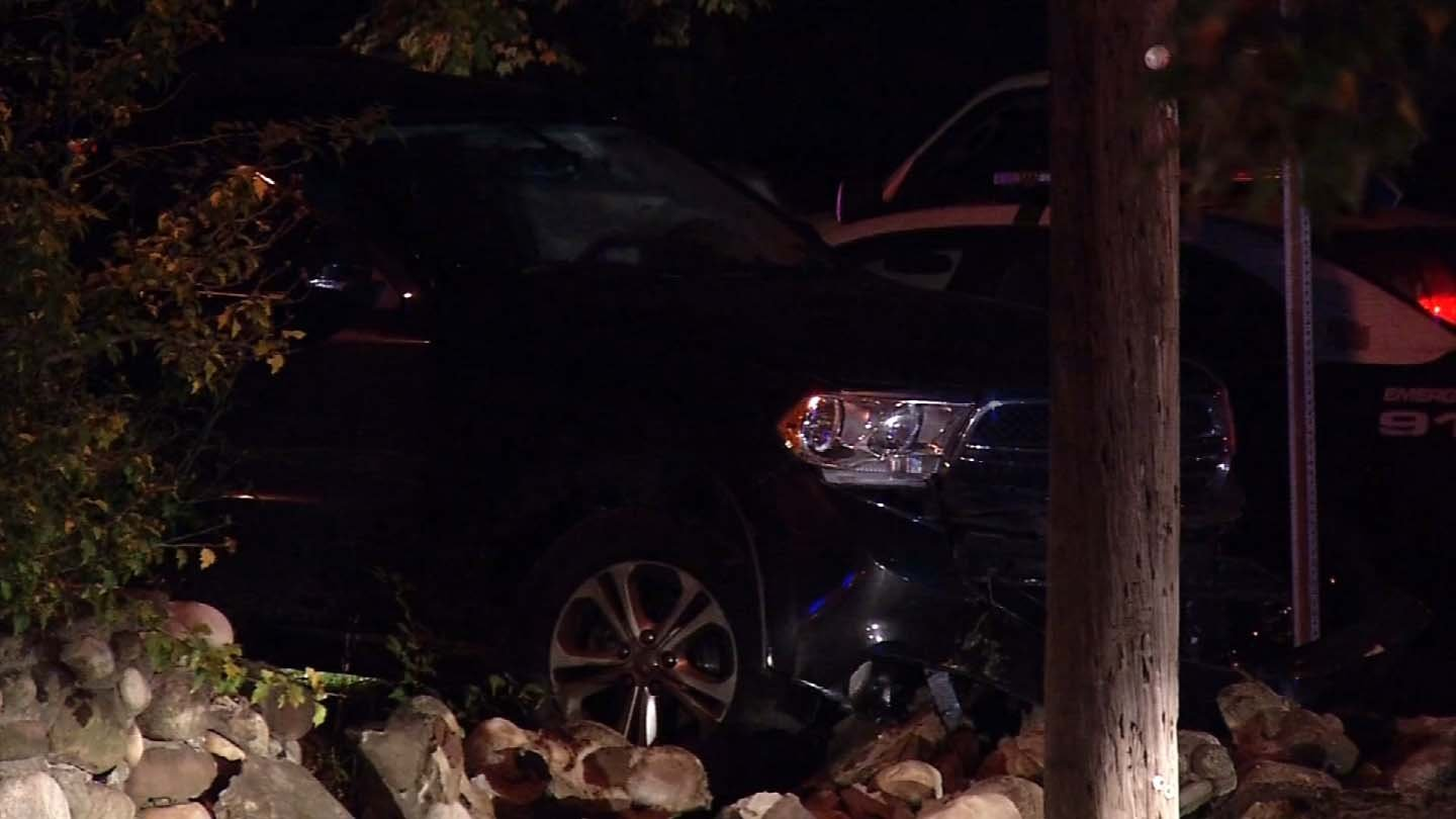 The SUV crashed on Federal Street in West Hartford. (WFSB photo)