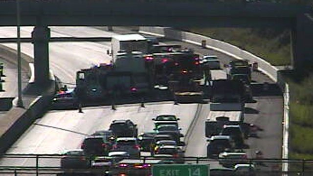 A crash involving a dump truck and Coach bus is causing delays on I-95 south in Norwalk. (DOT)