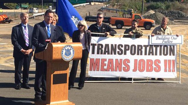 Gov. Dannel Malloy announced the benefits of widening the state's highways. (Governor's office photo)
