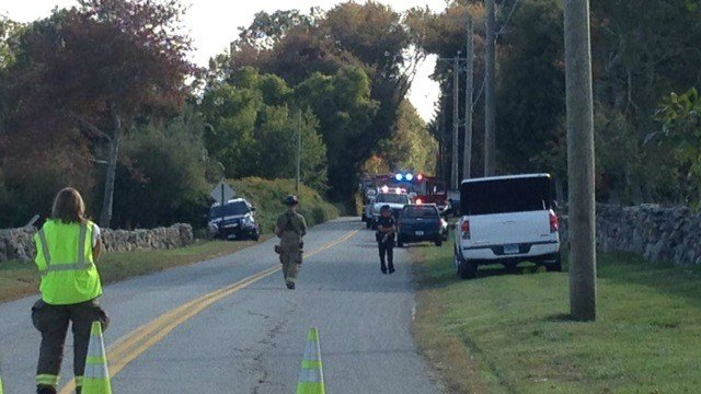 Emergency crews are on scene after a body was found in a woodchipper. (WFSB)