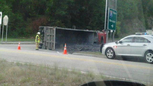 A rolled over garage truck has caused police to close the off ramp for I-395 in Norwich.