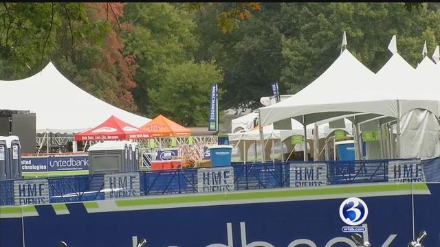Crews prepare for the  Eversource Hartford Marathon. (WFSB)