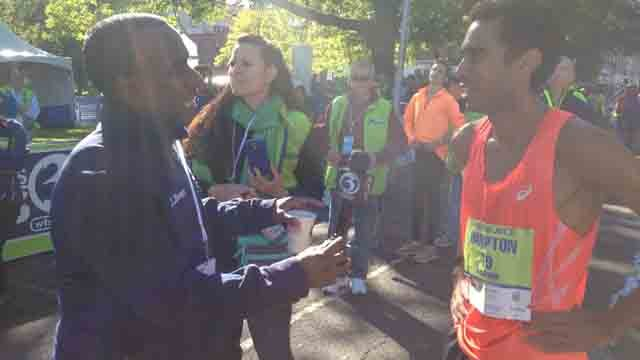 Evan White interviews Eversource Hartford Marathon winner Jonas Hampton of New Britain (WFSB)