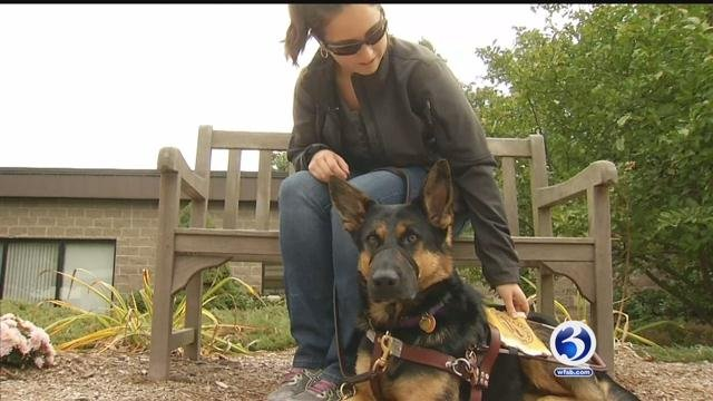 Jacqueline Rennebohm and her Fidelco guide dog Jewel are inseparable. (WFSB)