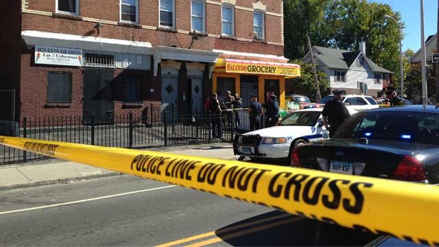 Two people are dead after a shooting on Broad Street in Hartford. (WFSB)