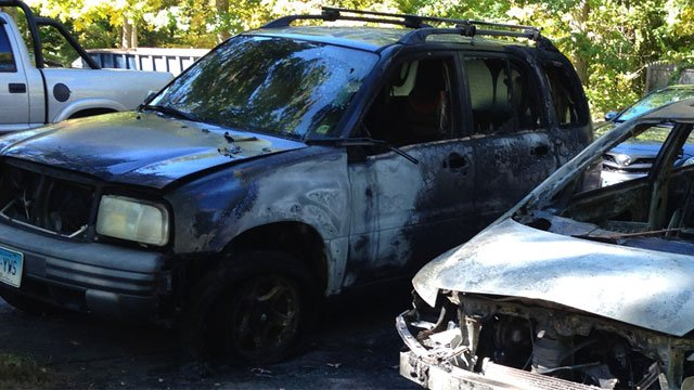 Car fires at Carriage House apartment complex are under investigation. (WFSB)