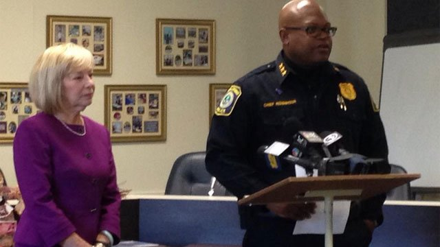 Superintendent Dr. Janet Robinson and police chief Patrick Ridenhour briefed press on arrest of teacher accused of sexually assaulting student. (WFSB)
