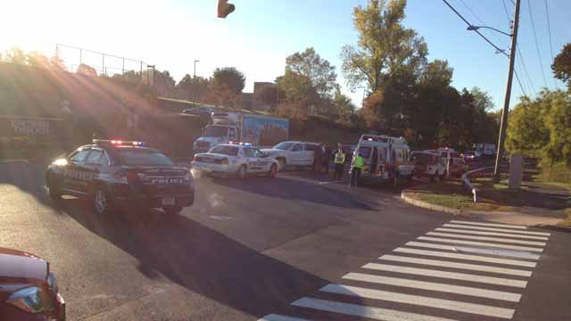 Injuries were reported in a multi-car crash in front of the Kingswood Oxford school in West Hartford. (WFSB photo)