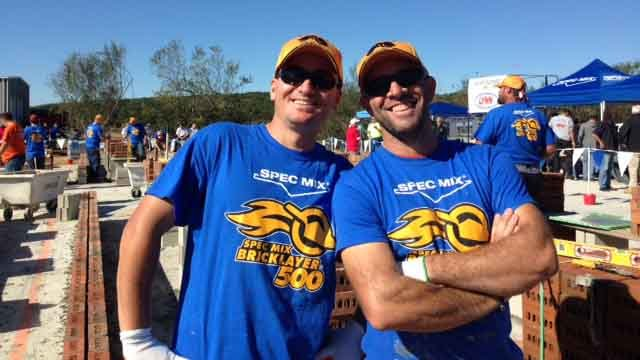 Fatjon Rapo and Julian Poce from Hartford competed in the bricklaying competition (WFSB)