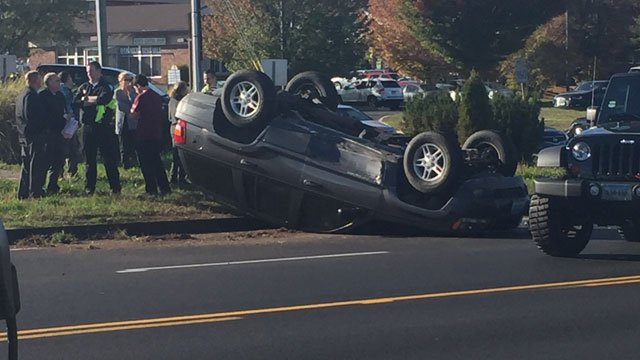 There is no word on injuries after a Jeep Cherokee overturned following a crash on Route 3. (WFSB)