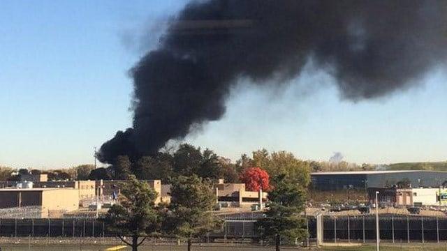 Firefighters battled this scrap yard fire Monday morning. (Sean Gorman photo)