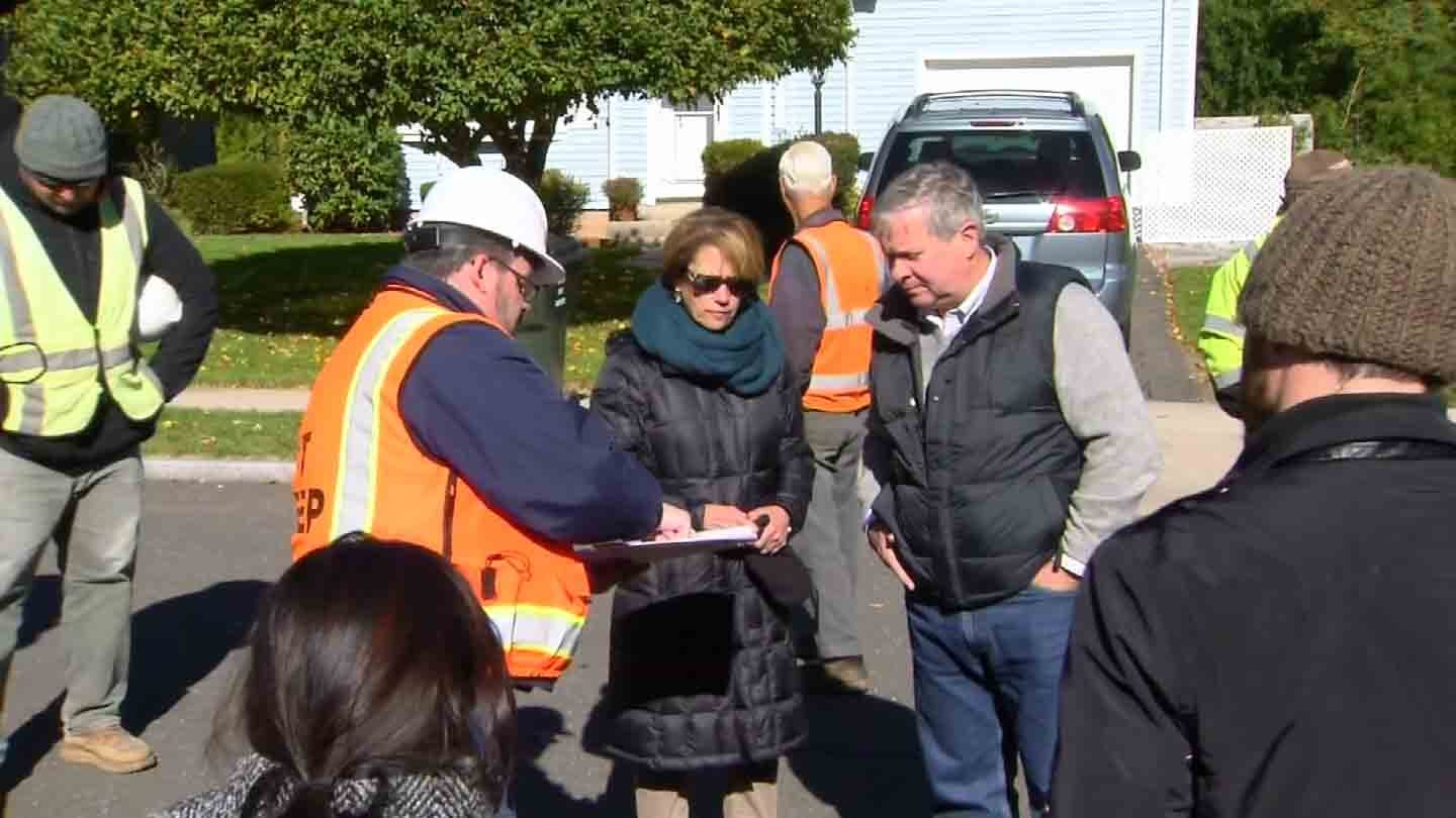Neighbors speak with state officials about tree cutting. (WFSB photo)