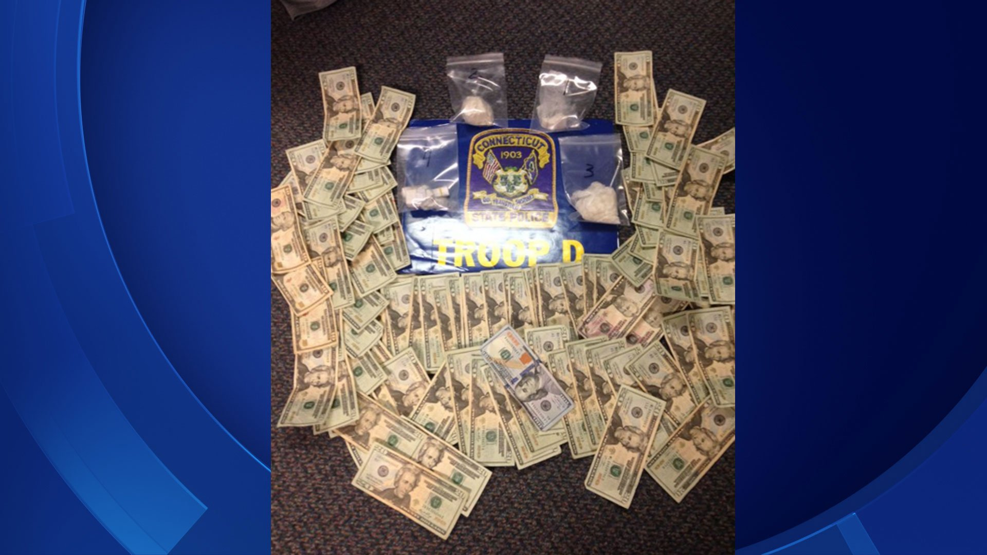 State police released this photo of the items seized during an arrest at a Killingly bar. (CT State Police)