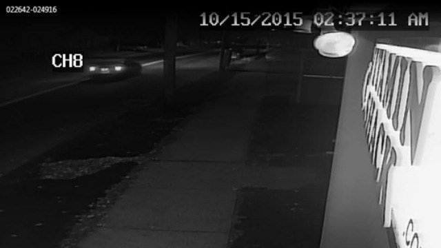 Police are searching for the vehicle in this surveillance photo in connection with the theft of several political signs. (Stratford Police Department)