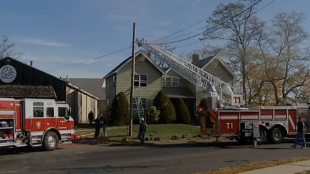 Fire crews on scene of house fire on Indian Neck Avenue in Branford. (WFSB)