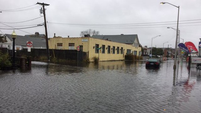 Water Street was closed shortly after noon time due to flooding. (Norwalk police photo)