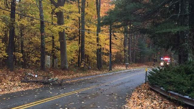 Hunter Road in Tolland is closed on Wednesday evening because of downed wires and tree branches. (Tolland Alert)