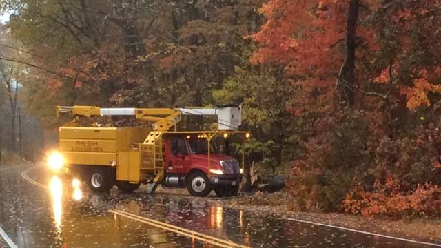 Downed tree, power lines close Route 79 in Madison (WFSB)