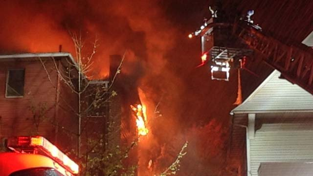 Crews are battling a massive fire at a home on Franklin Avenue in Hartford. (WFSB)