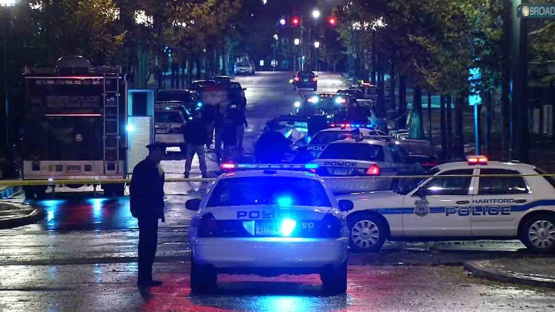 The scene on Park Street Wednesday night. (WFSB photo)