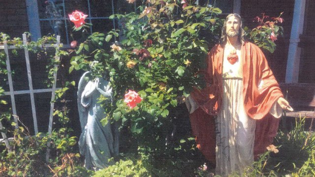 Police released this photo of color statue of the Sacred Heart of Jesus stolen from Angels & Company. (Monroe Police Department)