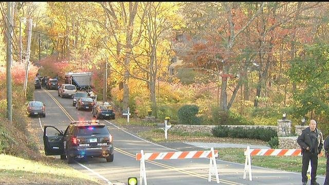 State police returned to Norfield Road in Weston on Friday morning. (WFSB photo)