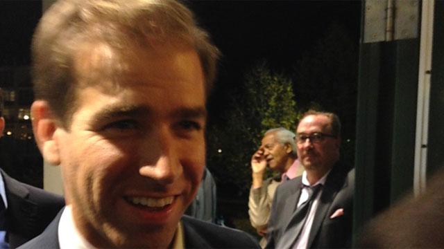 Democrat Luke Bronin arrives at his campaign headquarters. (WFSB)