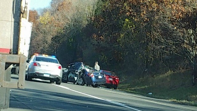 A serious motor vehicle crash involving a tractor-trailer on I-84 in Southbury. (iWitness viewer)