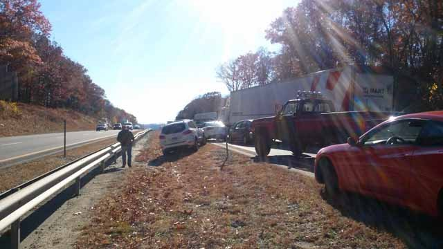 Interstate 395 southbound in Norwich was closed because of a three vehicle crash. (iWitness photo)