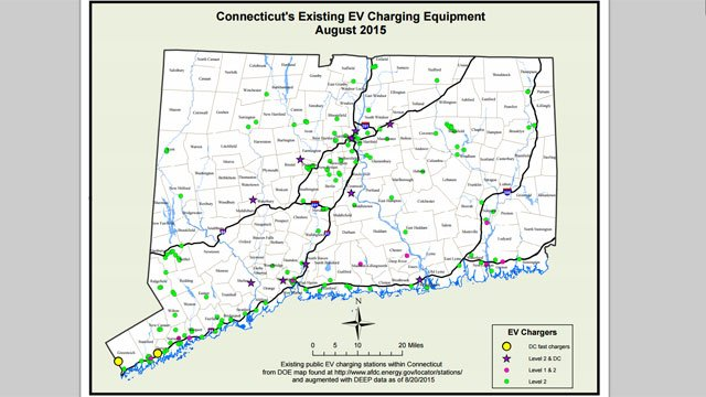 The following map shows all the Connecticut's existing EV charging equipment (DEEP)