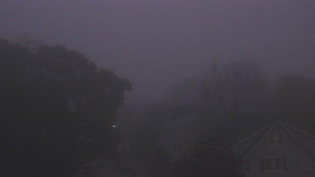 Dense fog at the Winthrop Magnet STEM ES in New London.