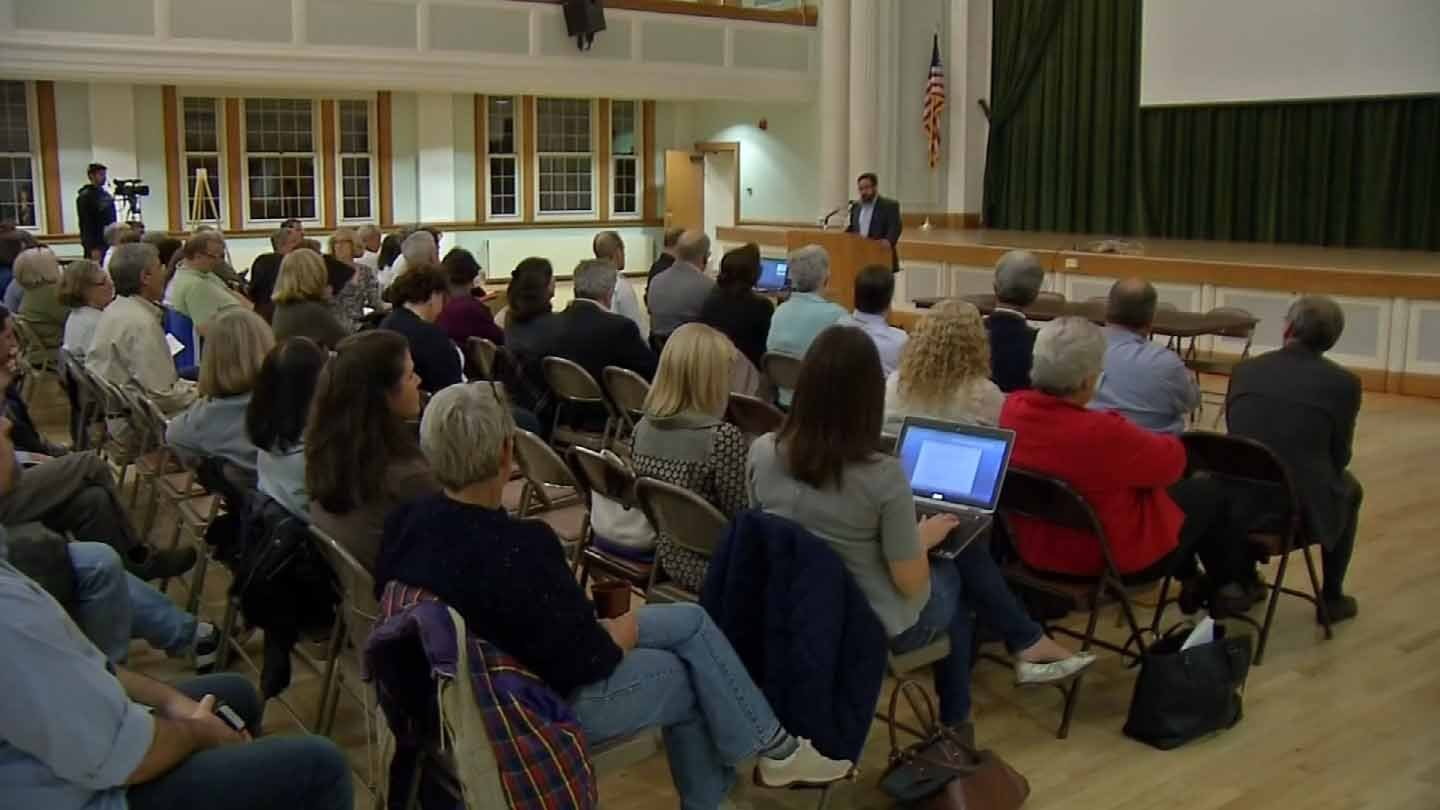 Neighbors packed a meeting with project officials on Wednesday night. (WFSB photo)