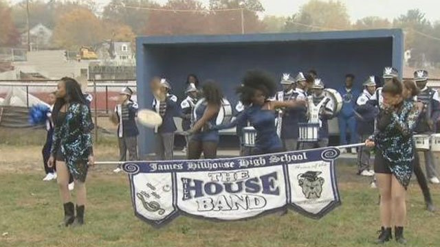A ceremony was held on Thursday morning at Bowen Field in New Haven to reopen the fields. (WFSB)