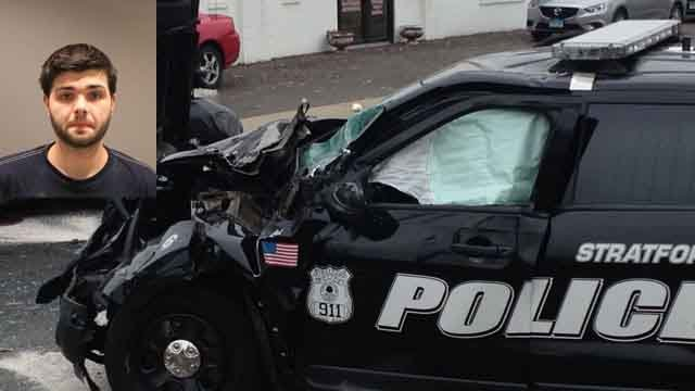 One driver is in police custody after crash on Surf Avenue in Stratford. (WFSB)