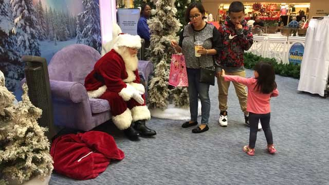 Santa Claus greets children at the Westfarms Mall in West Hartford. (WFSB photo)