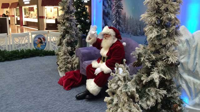 Santa was moved into the Westfarms Mall on Friday. (WFSB photo)