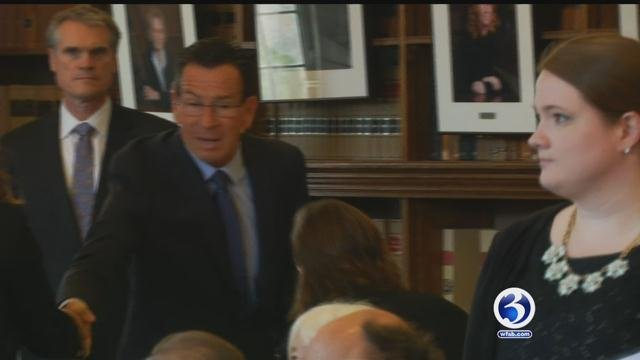 Gov. Dannel Malloy spoke at the University of Connecticut Law School about Second Chance Society initiatives.(WFSB)