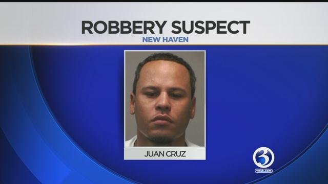 Police are searching for Juan Cruz after a robbery at Wells Fargo Bank on Church Street. (New Haven Police Department)