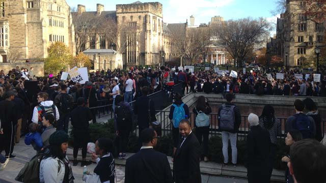Yale students march after alleged frat party racism (WFSB)