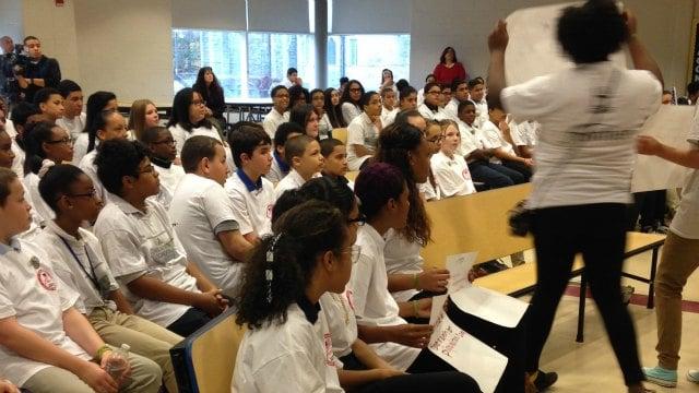 Students at Duggan Elementary School honored veterans on Tuesday. (WFSB)