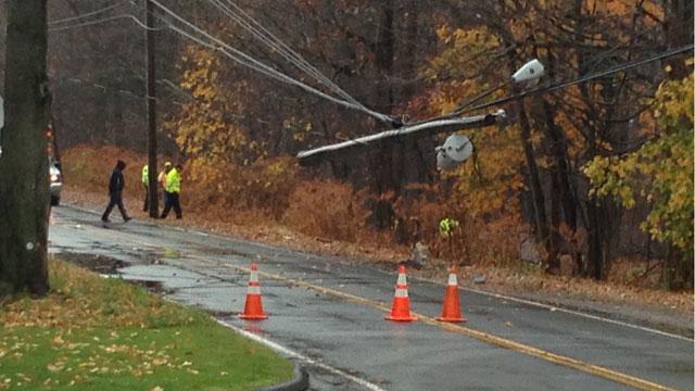 A crash involving a dump truck closed Broadway in Hamden. (WFSB)
