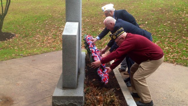 Newington honored its veterans. They remember those who made the ultimate sacrifice by placing wreaths by memorial. (WFSB)